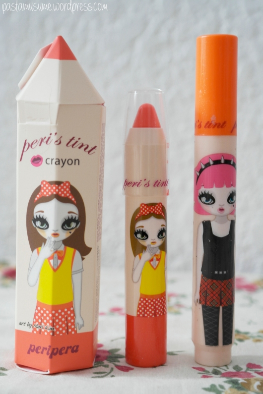 Peri's tint crayon side-by-side with Peri's marker tint for size comparison