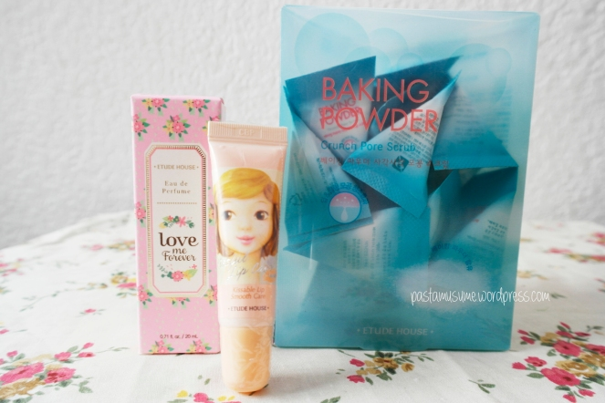 Etude House Stuff! Left: Love Me Forever Eau de Perfume                                Middle: Kissful Lip Care Scrub               Right: Baking Powder Pore Crunch